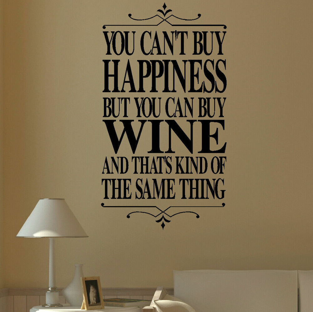 Large Wall Quote Happiness Red White Rose Wine Sticker