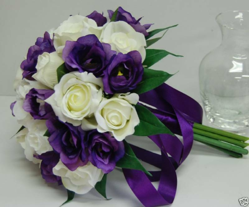 purple and cream wedding bouquets silk wedding bouquet flowers white roses purple 6868