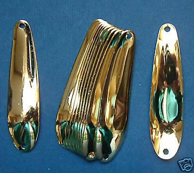 6 gold plated 2 1 4 flutter spoon blanks brass 025 for Fishing spoon blanks