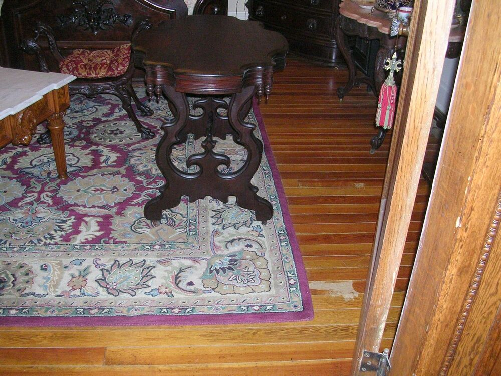 Antique High Victorian Mahogany Turtle Top Parlor Table