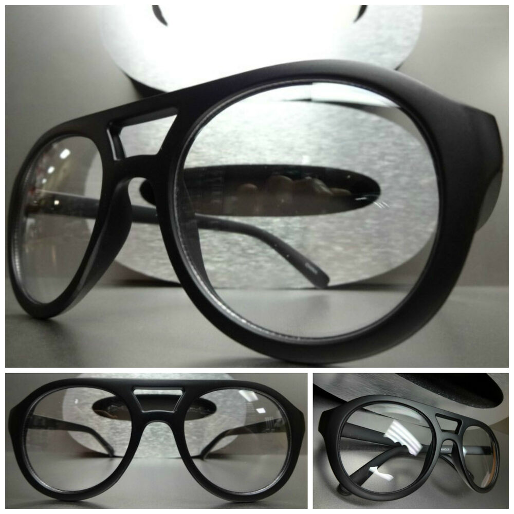 Matte Black Glasses Frame : OVERSIZE VINTAGE RETRO Style Clear Lens EYE GLASSES Matte ...