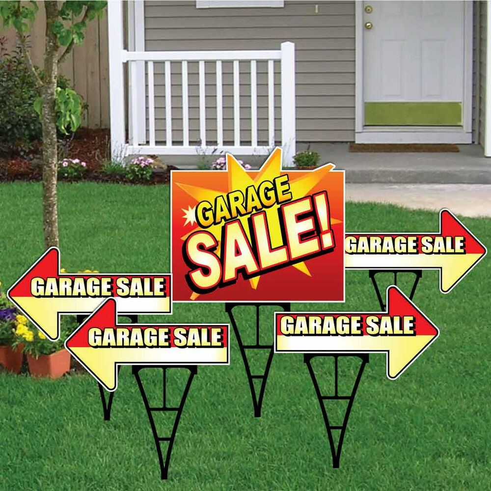 garage sale sign set with arrows and main sign