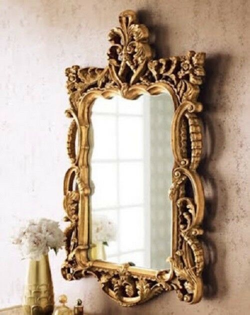 Ornate French Tuscan Floral Gold Scroll Wall Foyer Mantle