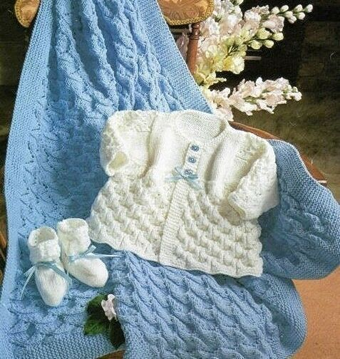 Knitting Pattern Baby Cardigan, Bootees & Blanket Lovely ...