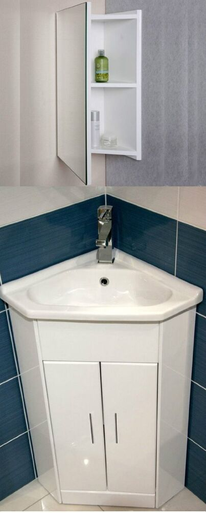 Corner Basin Unit Fitted Bathroom Furniture : ... Corner Vanity Unit Bathroom Cloakroom Furniture Sink Cabinet Basin