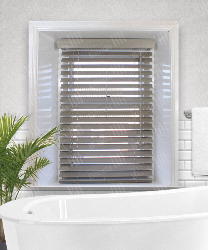 Haze Grey Brown Faux Wood Venetian Blind - Made To Measure ...