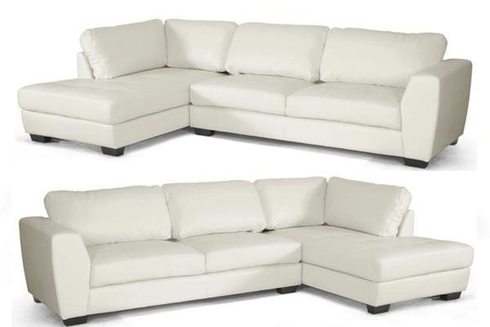 Off White Bonded Leather Modern Sectional Left Or Right
