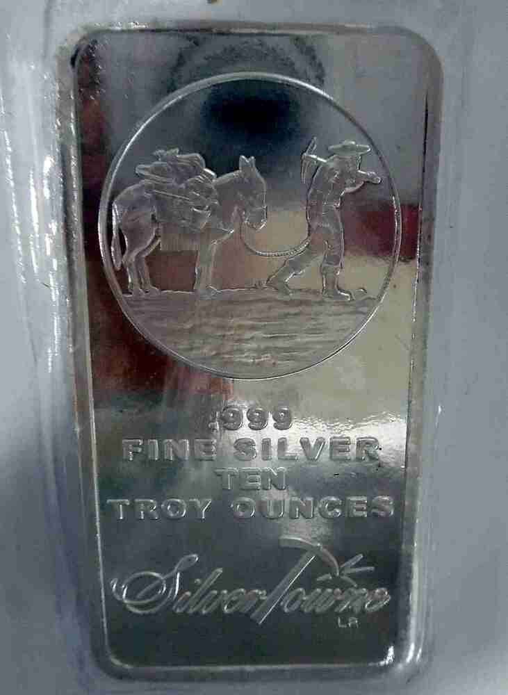 10 Oz Silver Bar Prospector Silvertowne Mint New