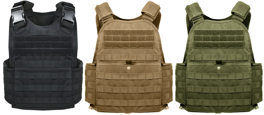Plate Carrier Vest Molle Tactical Various Colors