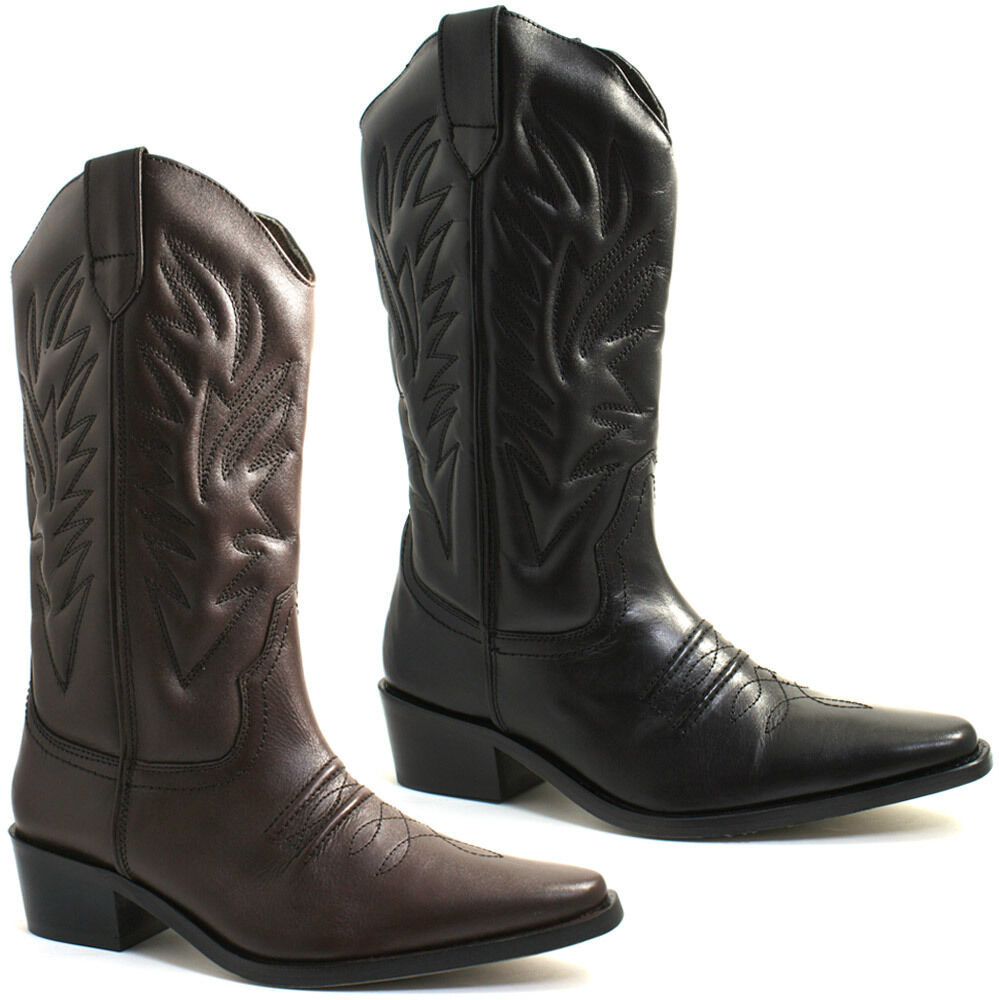 mens gringos cowboy leather calf boots size uk 6 12