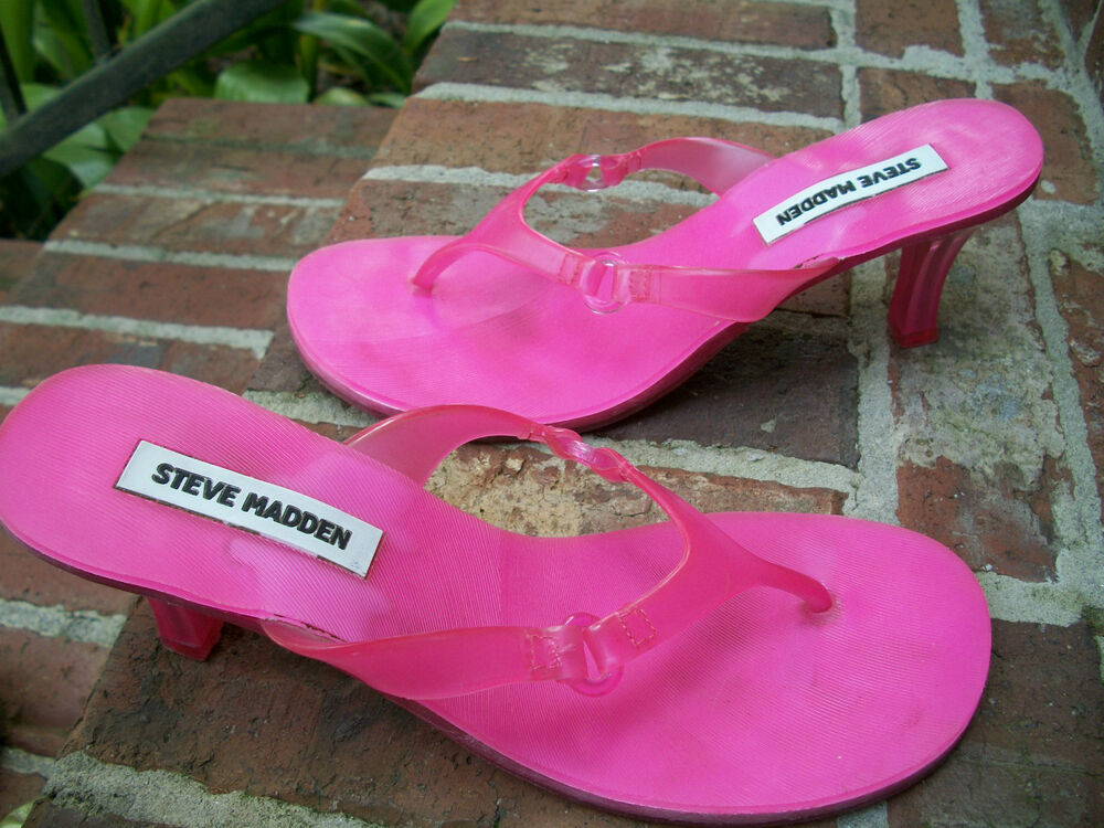 STEVE MADDEN SEXY HOT PINK CLEAR JELLY O-RING THONG KITTEN HEEL ...