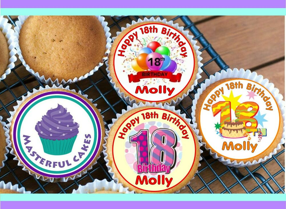 Edible Cake Decorations For 18th Birthday : 24 PERSONALISED 18th BIRTHDAY EDIBLE RICE PAPER CUP CAKE ...
