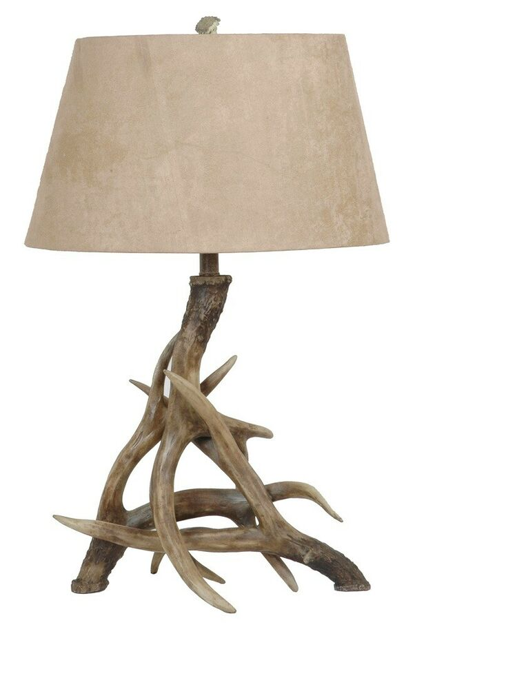 intertwined antler deer table lamp sueded shade rustic lake cabin