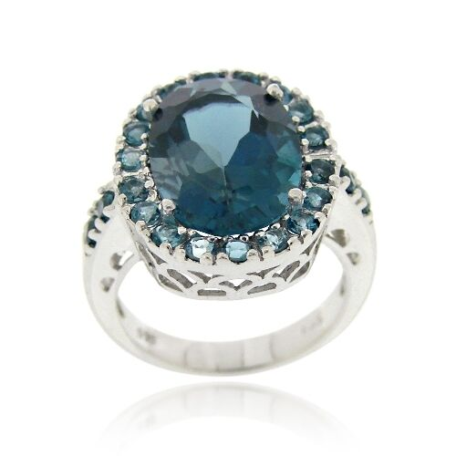 925 Silver 9ct London Blue Topaz Oval Cocktail Ring Ebay