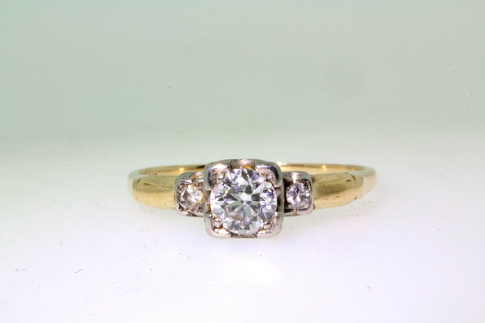 antique 1930s 50ct vs g 14k gold platinum wedding