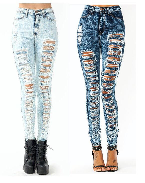 High Waisted Ripped Jeans For Women