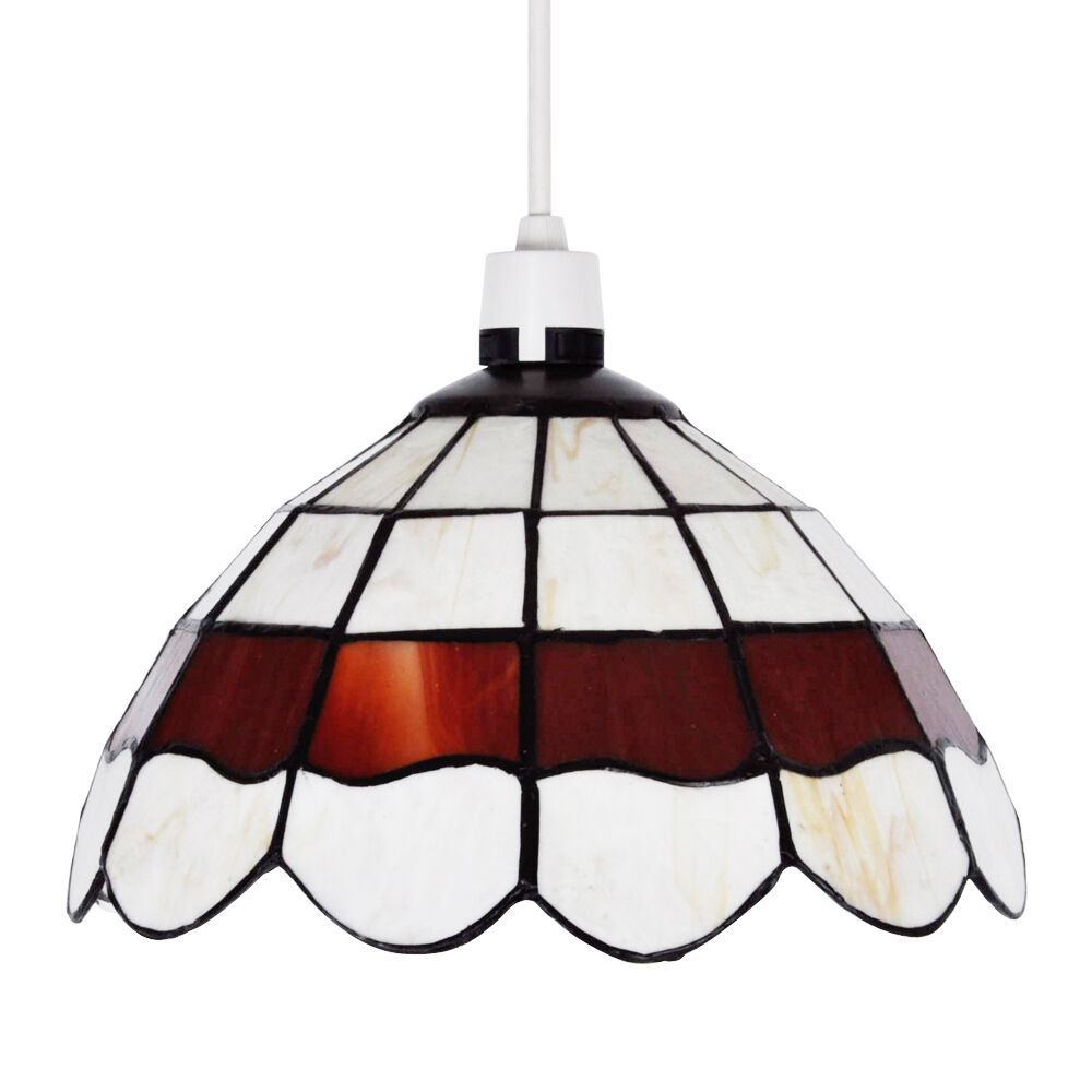 Lamp Shades For Ceiling Lights: Vintage Style Cream & Red Stained Glass Ceiling Pendant
