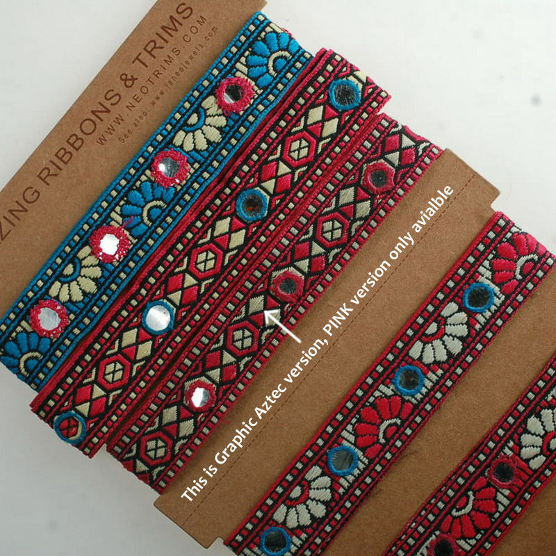 Neotrims aztec design india mirror work embroidery ribbons