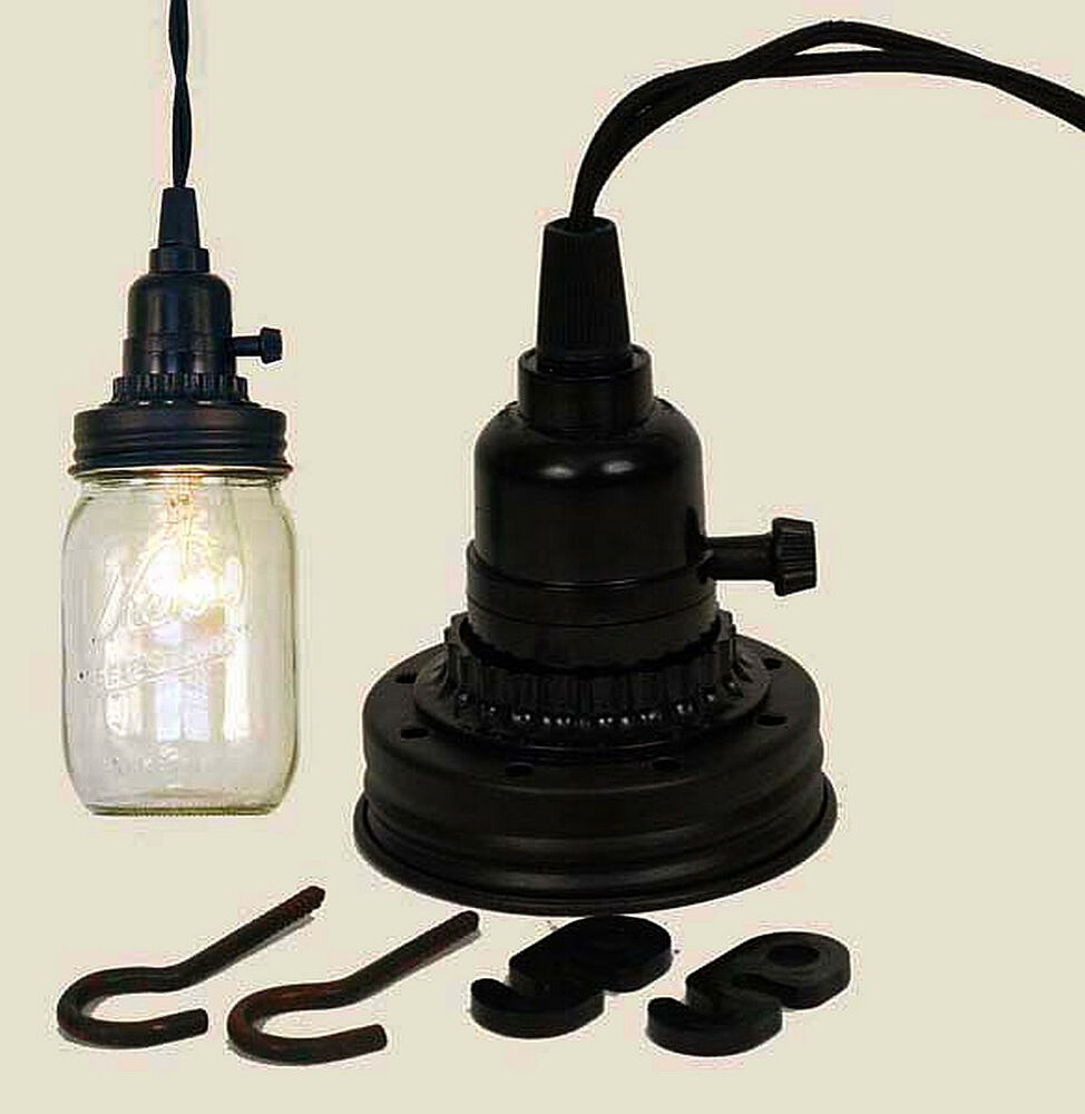 Use your mason jar rb mason canning fruit jar industrial for Industrial lamp kit