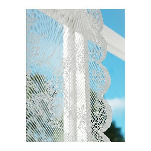 Ikea alvine spets off white sheer net curtains 145 x 300cm cut to size