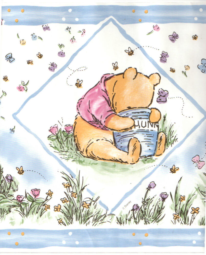 disney classic winnie the pooh bear baby blue nursery kid wall paper border ebay. Black Bedroom Furniture Sets. Home Design Ideas