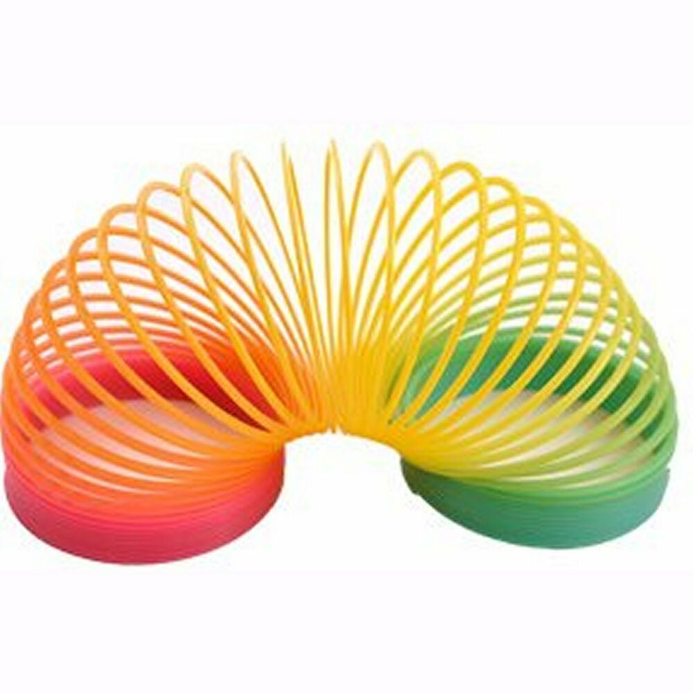 Toys For Spring : Large rainbow plastic spring toy slinky type strechy