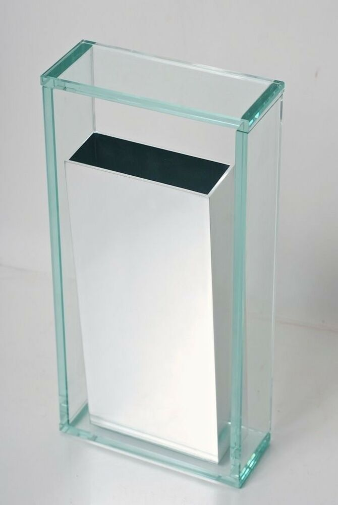 Architectural Modern Glass And Metal Vase Ebay