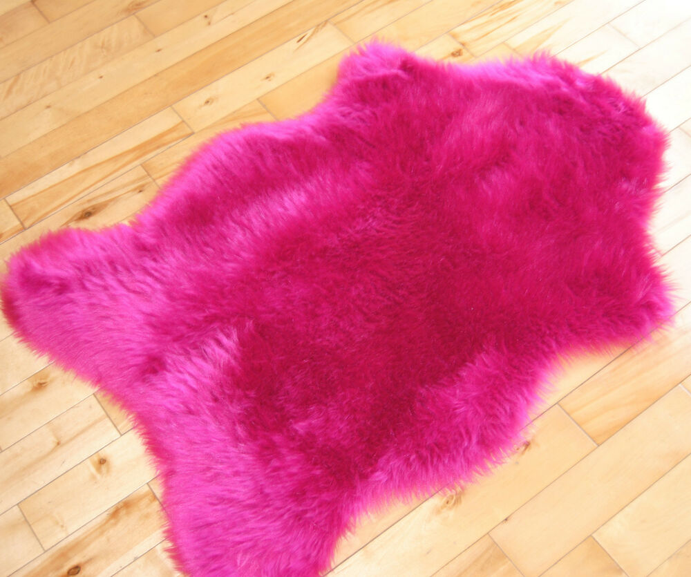 Cheap Bright Pink Sheepskin Fluffy Plain Rug Soft Faux Fur