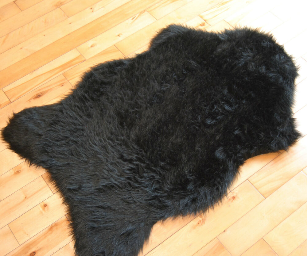 Black Sheepskin Plain Cheap Fluffy Rug Soft Faux Fur Fake
