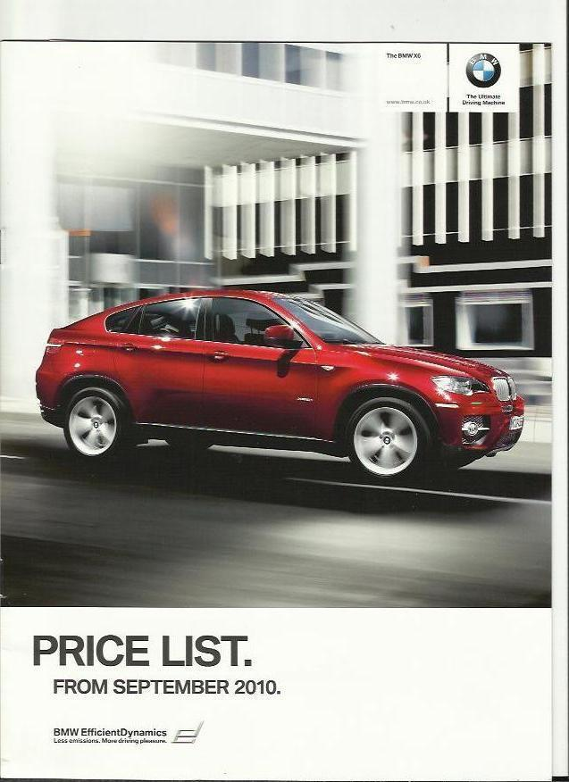 bmw x6 illustrated price list sales brochure september. Black Bedroom Furniture Sets. Home Design Ideas