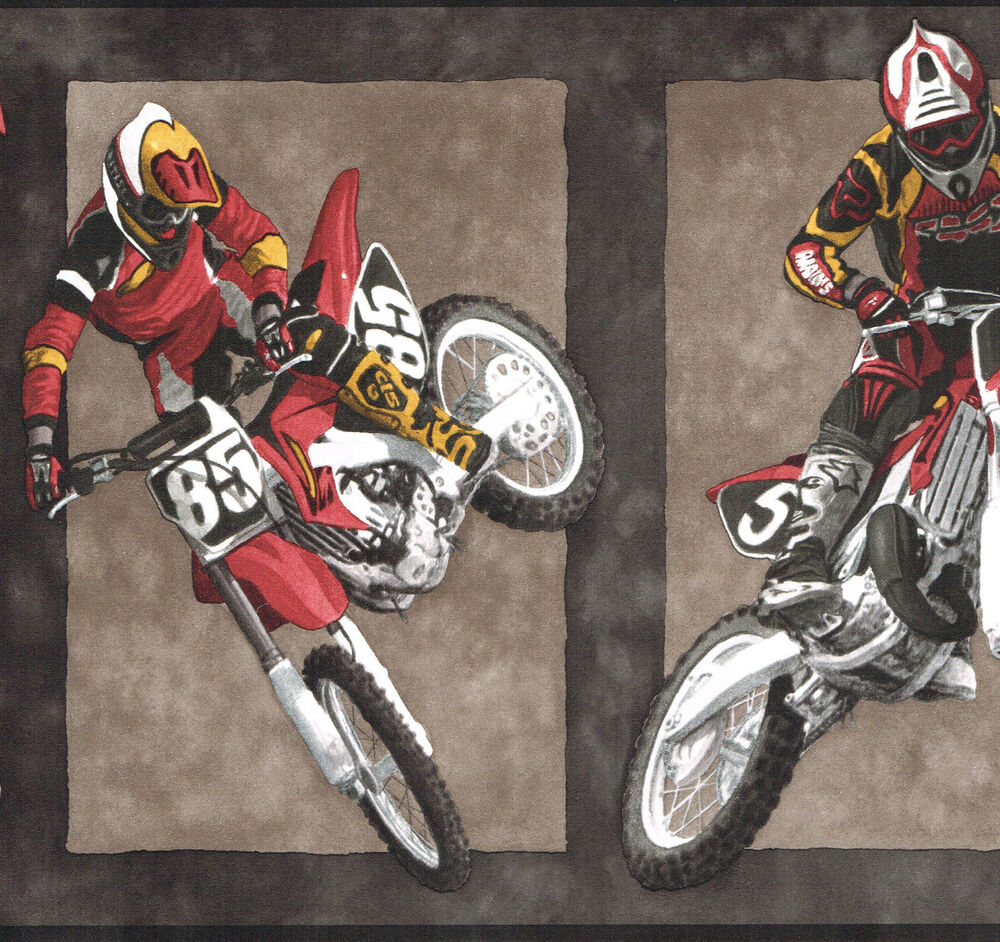 wallpaper border wall dirt bikes motorcycle racing 10 1 4 wide sports ebay. Black Bedroom Furniture Sets. Home Design Ideas