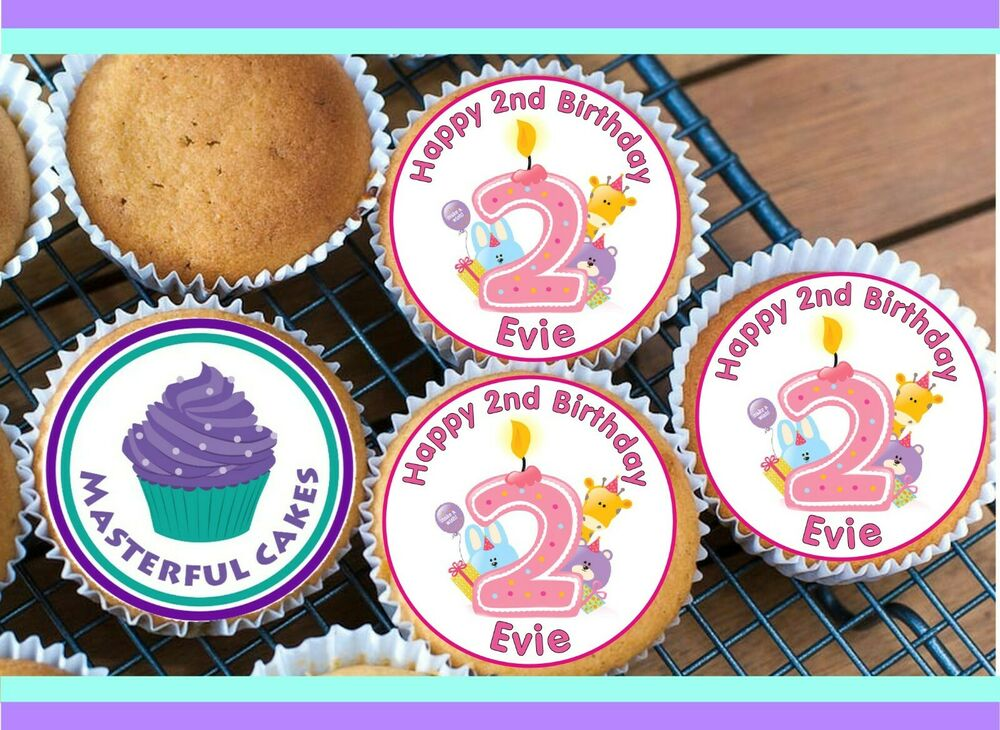 24 PERSONALISED 2nd BIRTHDAY EDIBLE RICE PAPER CUP CAKE