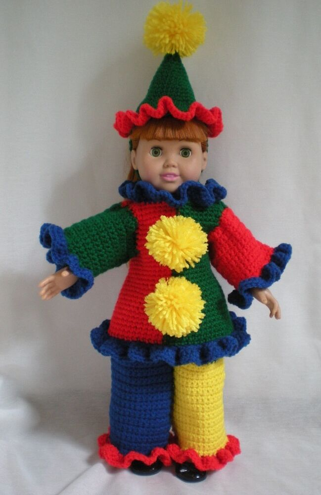 Halloween costume clown outfit crochet pattern book fits an 18 quot doll