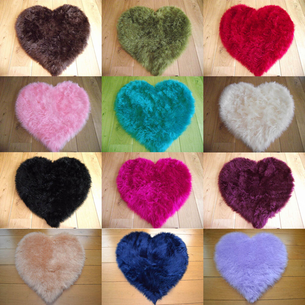 Love Heart Fluffy Mat Rugs Kids Soft Girls Boys Fake Faux