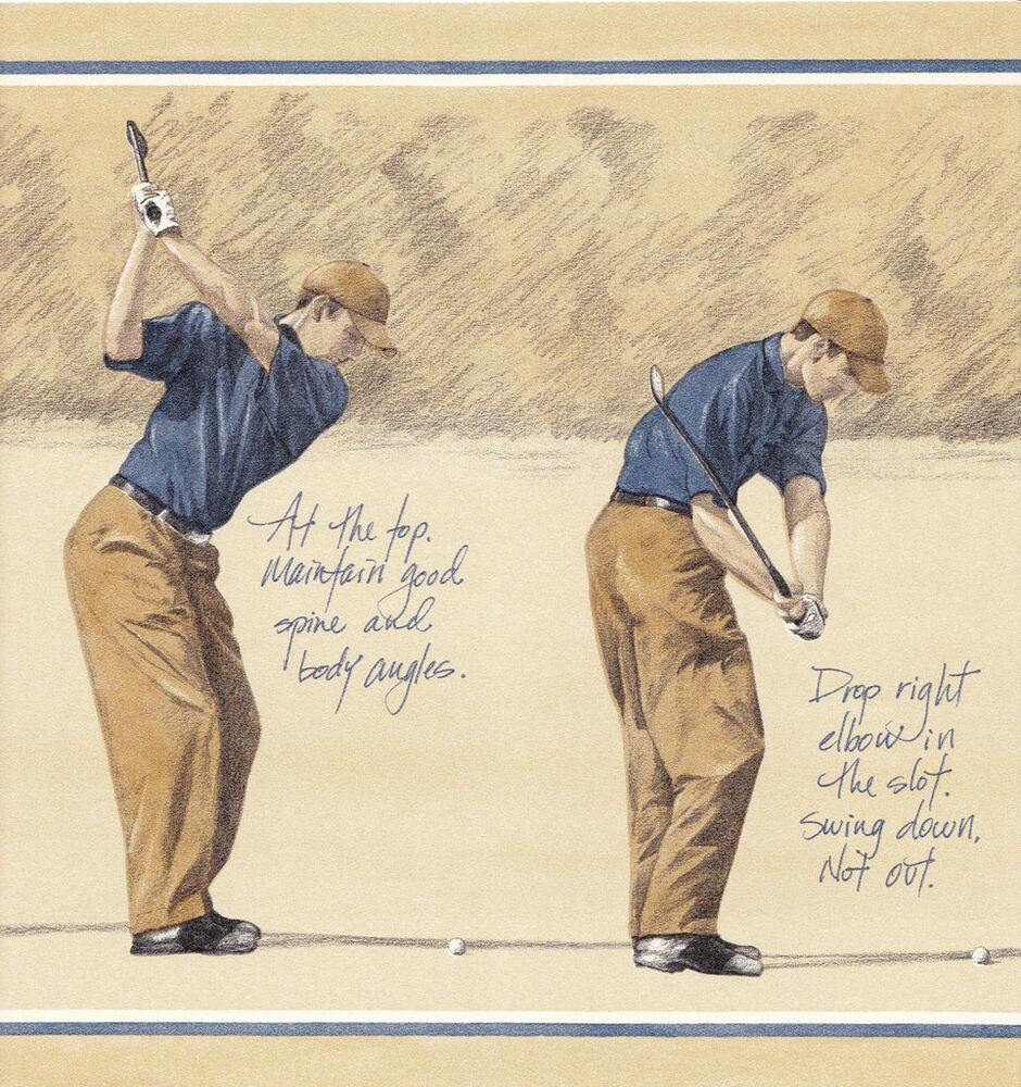 Wallpaper border wall decor learn how to swing a golf