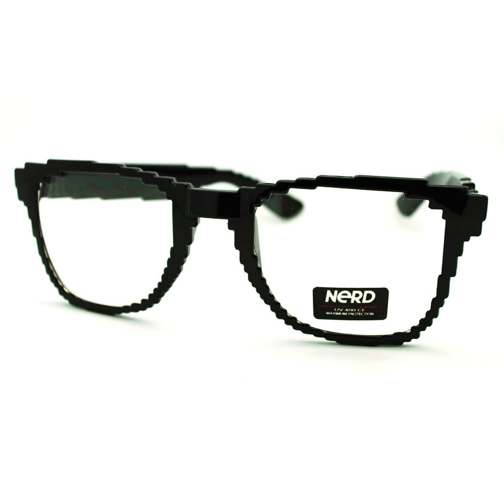 32-bit Black Pixelated Pixel Eye Glasses With Clear Lens