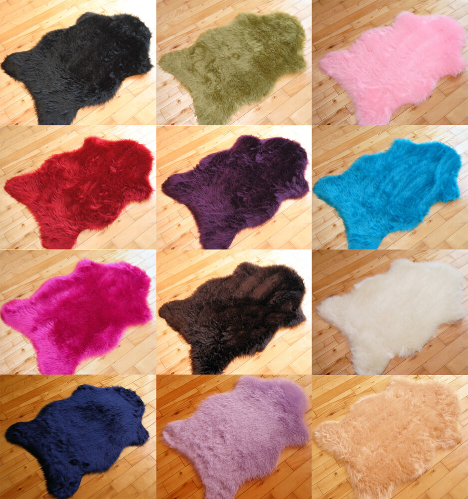 Soft Sheepskin Plain Fluffy Skin Faux Fur Fake Rug Cheap
