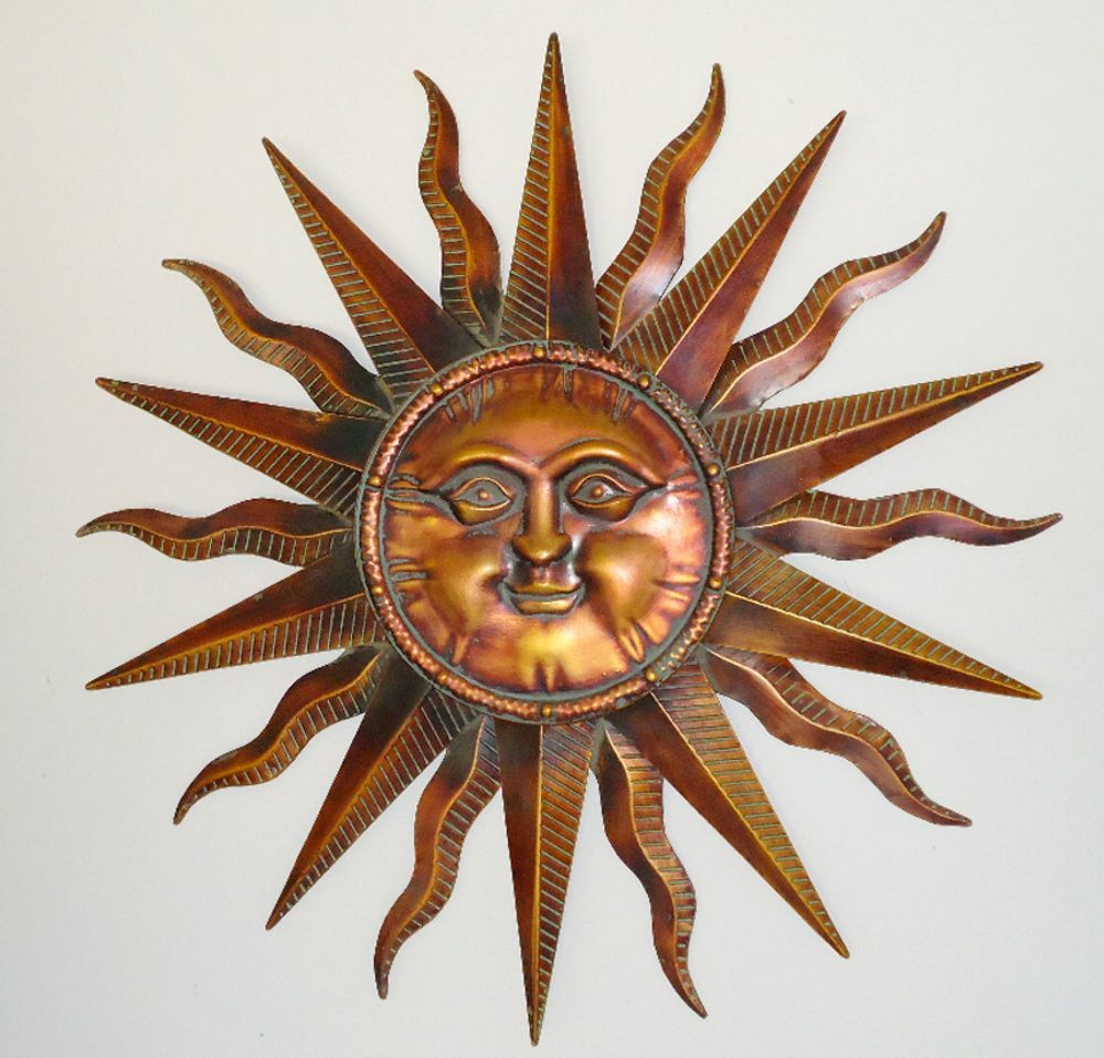 copper patina sun face extra large sunburst metal wall art hanging decor 38 ebay. Black Bedroom Furniture Sets. Home Design Ideas