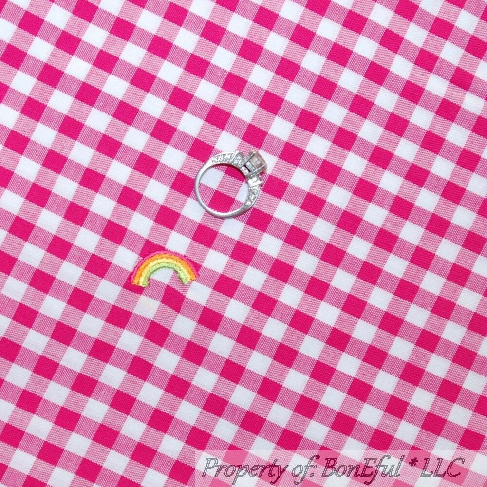 Boneful fabric fq cotton vtg pink white sewing embroidered