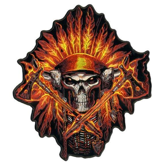 Indian Smoke Shop >> large FIRE HEADDRESS CHIEF AXES JACKET BACK PATCH JBP71 EMBROIDERED SKULL NEW | eBay