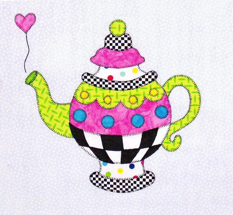 a spot of tea cute applique teapot block pattern ebay. Black Bedroom Furniture Sets. Home Design Ideas