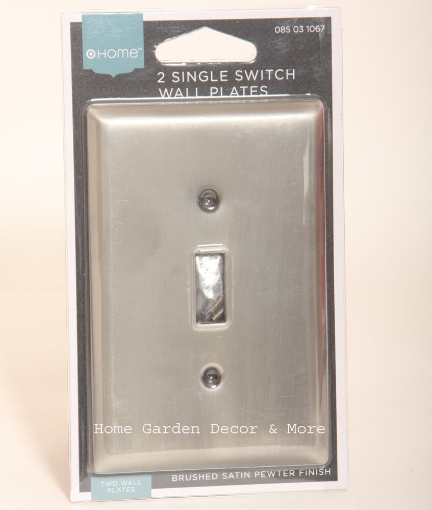 2 BRUSHED SATIN PEWTER Single Light Switch Wall Plate