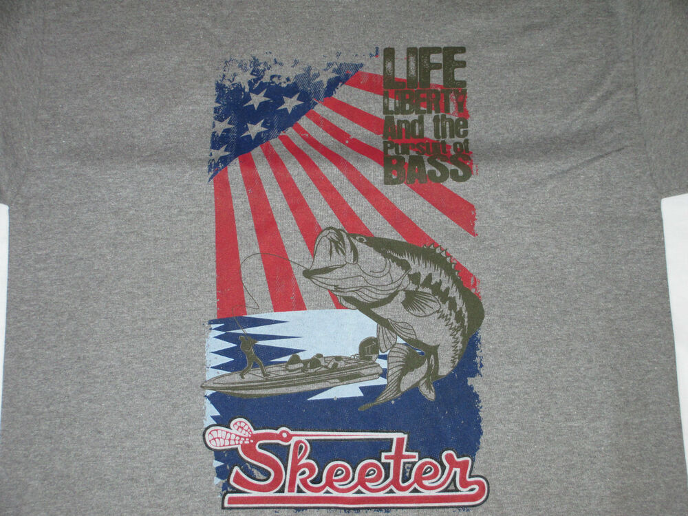 New skeeter oxford grey tee shirt with american flag and for American flag fish