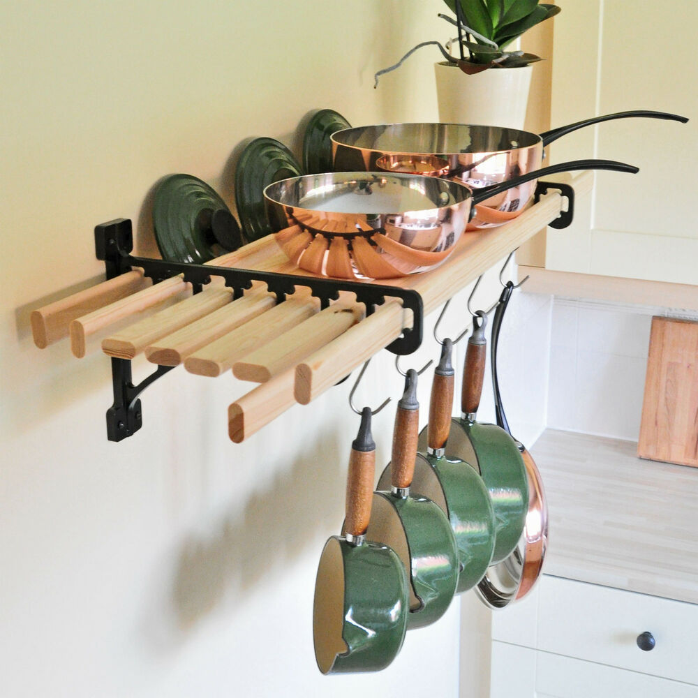 Kitchen Shelf Brackets: 8 Wooden Laths & SOLID CAST IRON