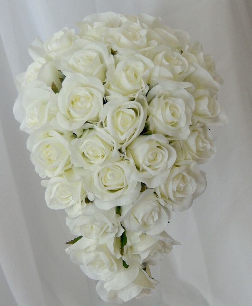 Wedding White Roses: SILK WEDDING BOUQUET WHITE CREAM ROSES TEARDROP BOUQUETS