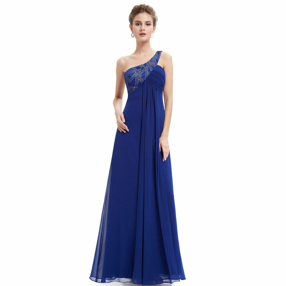 Women's One Shoulder Blue Long Evening Party Formal Gown