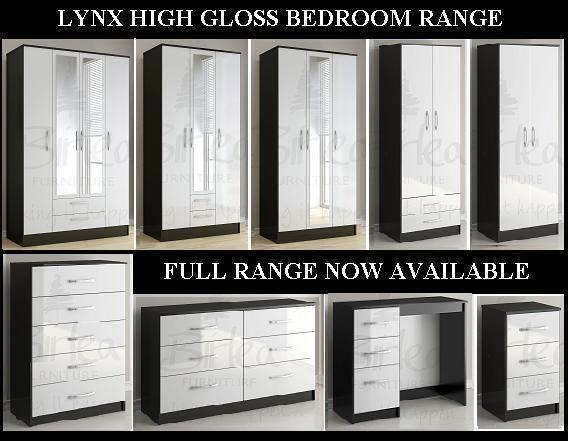 Birlea lynx black and white high gloss bedroom furniture for White gloss bedroom furniture