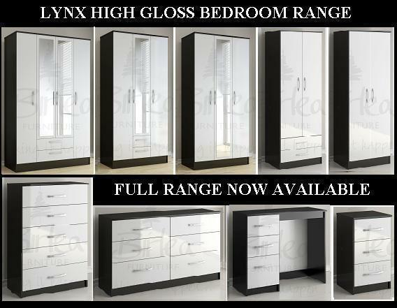 Birlea Lynx Black And White High Gloss Bedroom Furniture