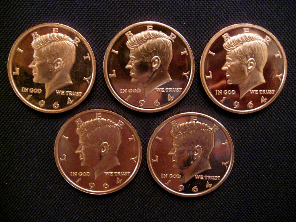 1 Ounce 999 Copper Round 1964 Kennedy 5 Coins Ebay