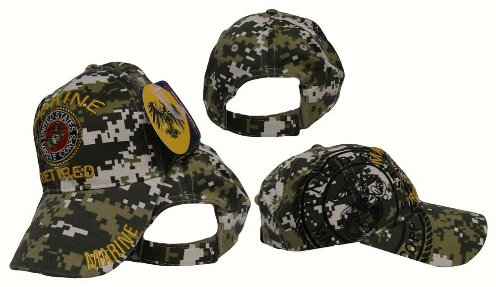 Embroidered Acu Camo Usmc Marines Marine Retired Veteran Baseball Hat Cap Ebay